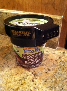 Here is my Chocolate Fudge Brownie Fro-Yo secured with the Ben & Jerry's Euphori-Lock.